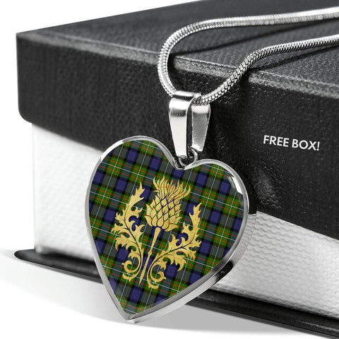 Fergusson Modern Tartan Heart Necklace Thistle Gold