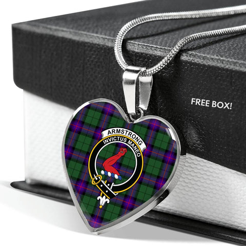 Image of Armstrong Modern Tartan Crest Heart Necklace