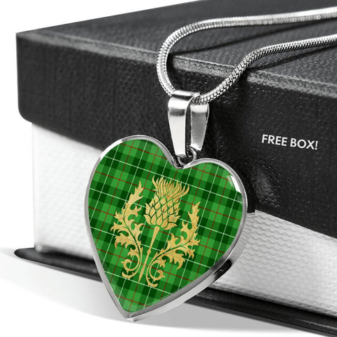 Galloway District Tartan Heart Necklace Thistle Gold
