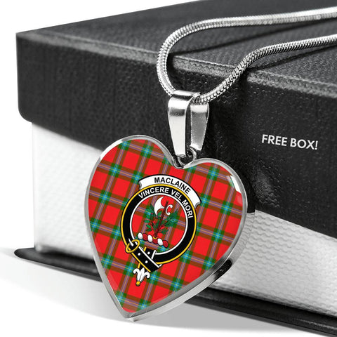 MacLaine of Loch Buie Tartan Crest Heart Necklace
