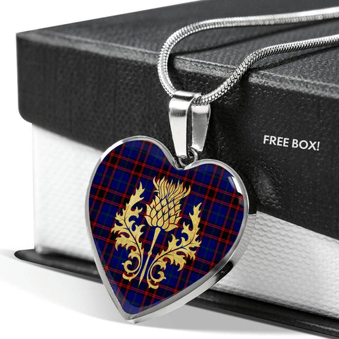 Home Modern Tartan Heart Necklace Thistle Gold