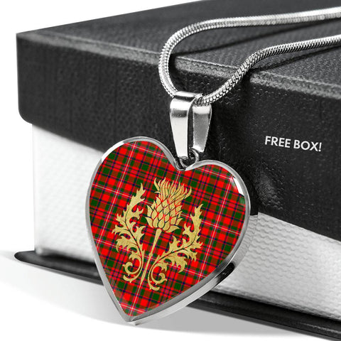 MacKinnon Modern Tartan Heart Necklace Thistle Gold