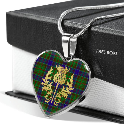 adam Tartan Heart Necklace Thistle Gold