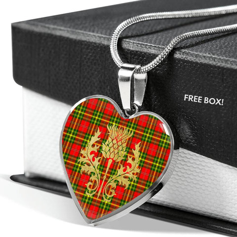 Leask Tartan Heart Necklace Thistle Gold