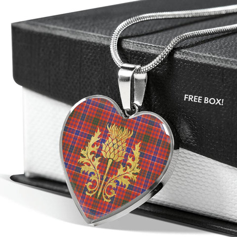MacRae Ancient Tartan Heart Necklace Thistle Gold