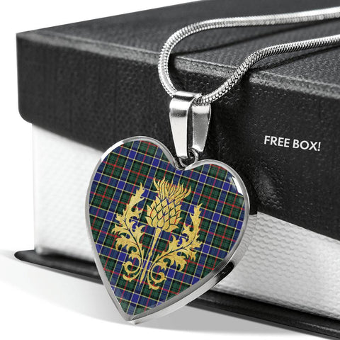 Ogilvie Hunting Modern Tartan Heart Necklace Thistle Gold