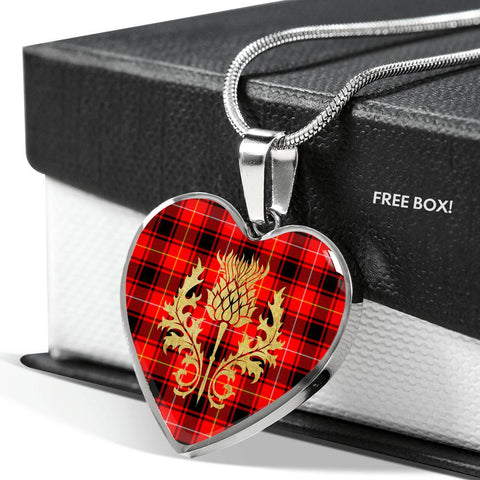 Image of MacIntyre Modern Tartan Heart Necklace Thistle Gold