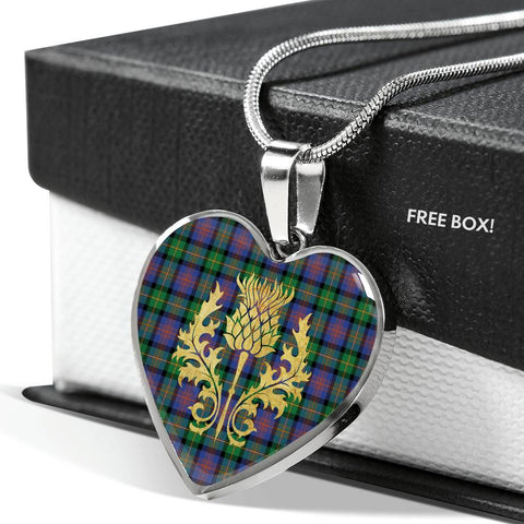 Logan Ancient Tartan Heart Necklace Thistle Gold