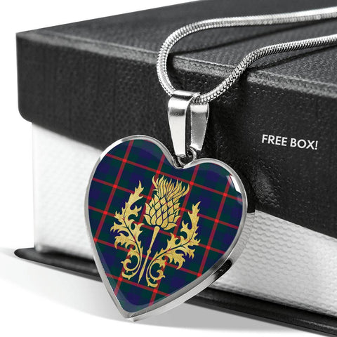 Agnew Modern Tartan Heart Necklace Thistle Gold