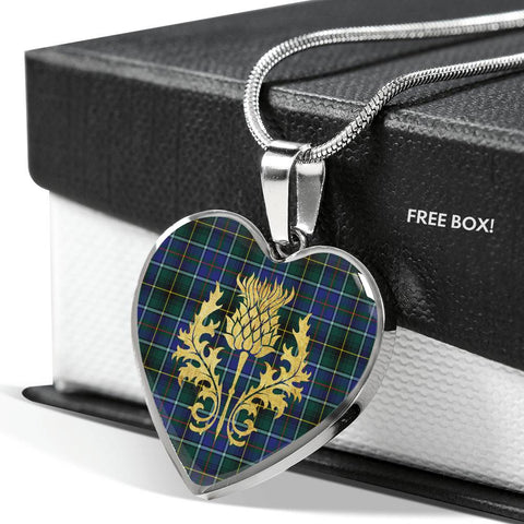 MacInnes Modern Tartan Heart Necklace Thistle Gold