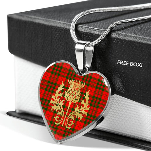 Image of Livingstone Modern Tartan Heart Necklace Thistle Gold