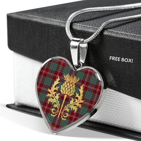 Crawford Modern Tartan Heart Necklace Thistle Gold