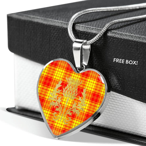 MacMillan Clan Tartan Heart Necklace Thistle Gold