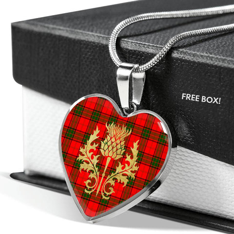 Adair Tartan Heart Necklace Thistle Gold