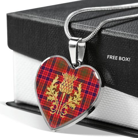 Lumsden Modern Tartan Heart Necklace Thistle Gold