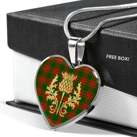 Image of Menzies Green Modern Tartan Heart Necklace Thistle Gold