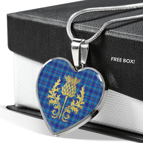 Mercer Modern Tartan Heart Necklace Thistle Gold