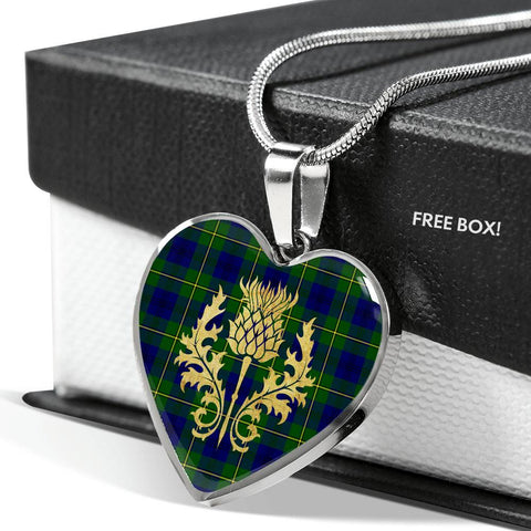 Image of Johnstone Tartan Heart Necklace Thistle Gold