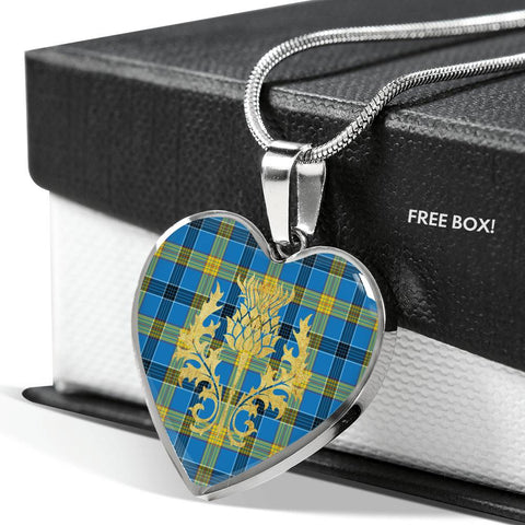 Laing Tartan Heart Necklace Thistle Gold