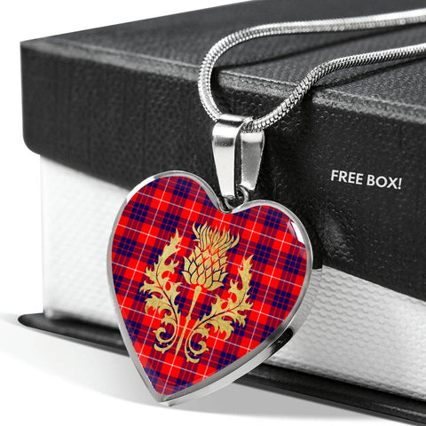 Hamilton Modern Tartan Heart Necklace Thistle Gold