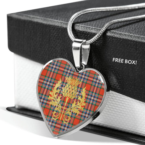 Image of MacFarlane Ancient Tartan Heart Necklace Thistle Gold