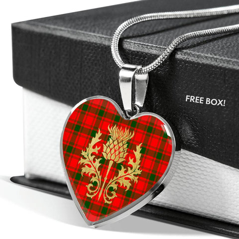 MacQuarrie Modern Tartan Heart Necklace Thistle Gold