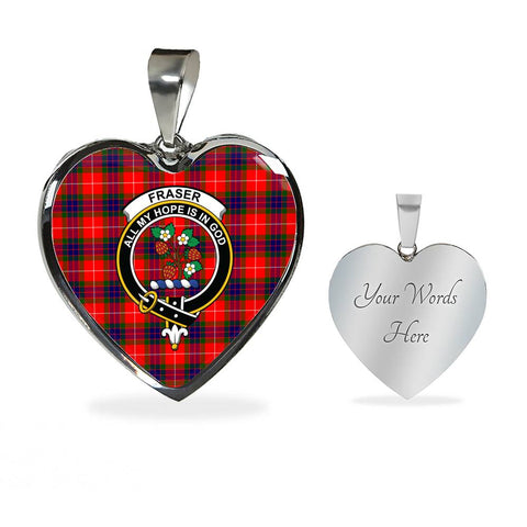 Image of Fraser Modern Tartan Crest Heart Necklace HJ4