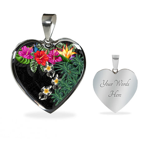 Image of Hawaii Heart Shaped Necklace - Hibiscus Turtle Tattoo Black | Love The World