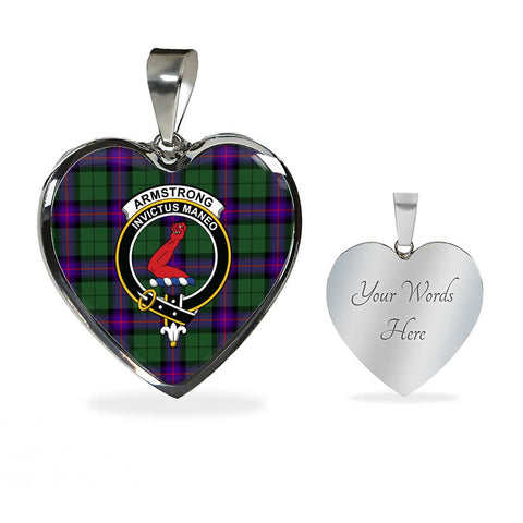 Image of Armstrong Modern Tartan Crest Heart Necklace HJ4