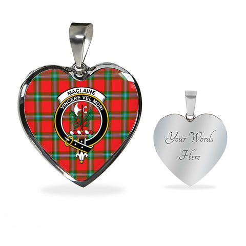 MacLaine of Loch Buie Tartan Crest Heart Necklace HJ4