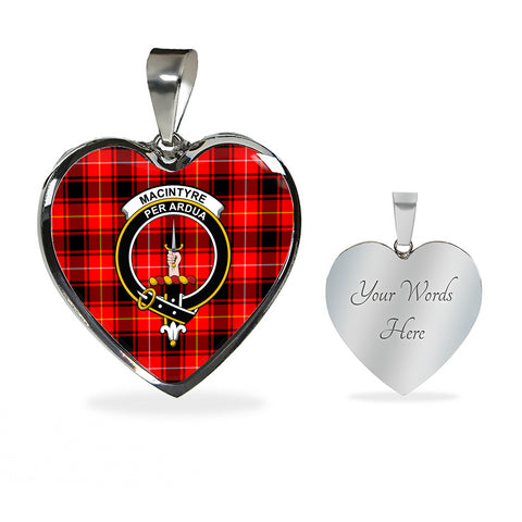 Image of MacIntyre Modern Tartan Crest Heart Necklace HJ4