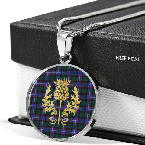 Image of Hunter Modern Tartan Circle Necklace Thistle Gold