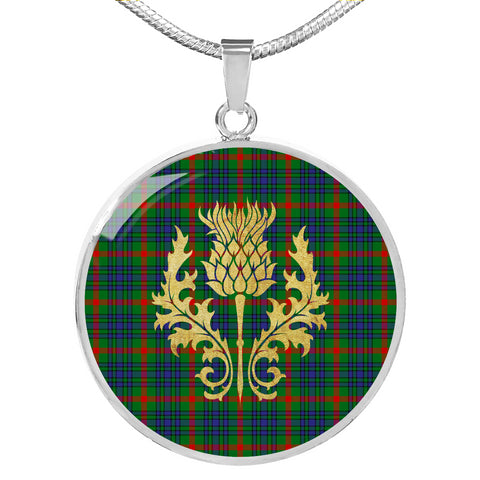 Aiton Tartan Circle Necklace Thistle Gold Hj4