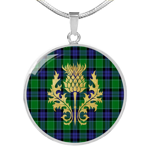 Graham of Menteith Modern Tartan Circle Necklace Thistle Gold Hj4