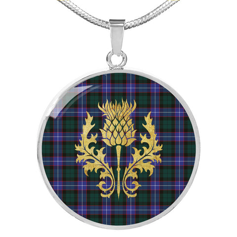 Hunter Modern Tartan Circle Necklace Thistle Gold Hj4