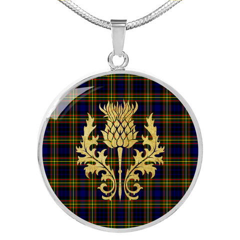 MacLellan Modern Tartan Circle Necklace Thistle Gold Hj4