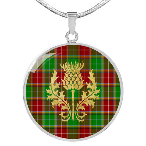 Image of Baxter Modern Tartan  Circle Necklace Thistle Gold Hj4