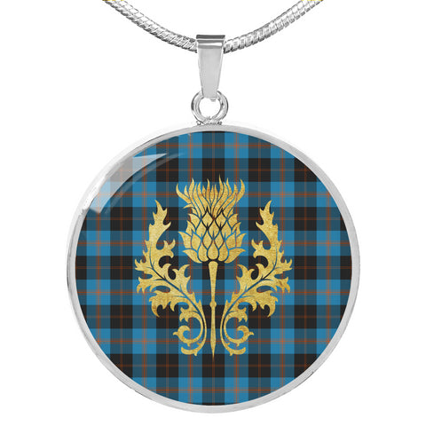 Angus Ancient Tartan Circle Necklace Thistle Gold Hj4