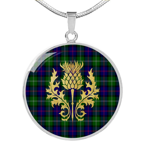MacThomas Modern Tartan Circle Necklace Thistle Gold Hj4