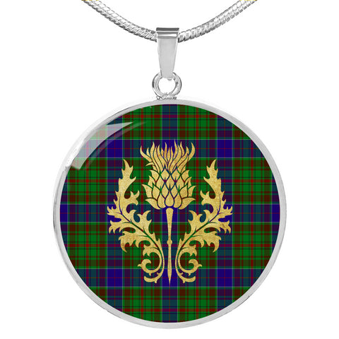 Image of Adam Tartan Circle Necklace Thistle Gold Hj4