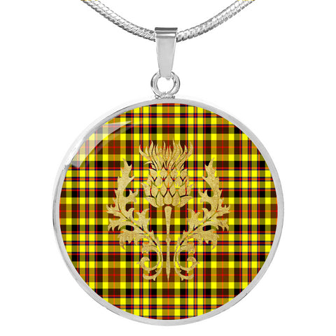 Jardine Tartan  Circle Necklace Thistle Gold Hj4