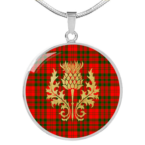 Livingstone Modern Tartan Circle Necklace Thistle Gold Hj4