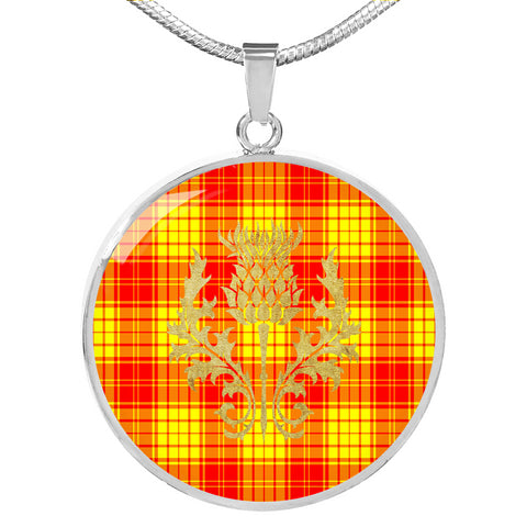 MacMillan Clan Tartan Circle Necklace Thistle Gold Hj4