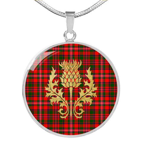 MacKinnon Modern Tartan Circle Necklace Thistle Gold Hj4