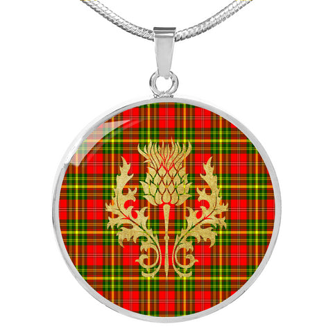 Leask Tartan Circle Necklace Thistle Gold Hj4