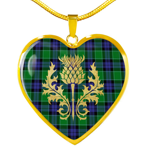 Graham of Menteith Modern Tartan Heart Necklace Thistle Gold Hj4