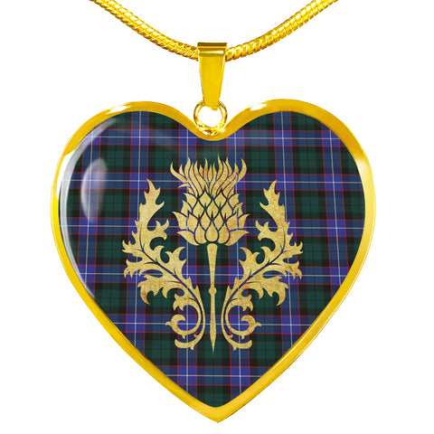 Hunter Modern Tartan Heart Necklace Thistle Gold Hj4