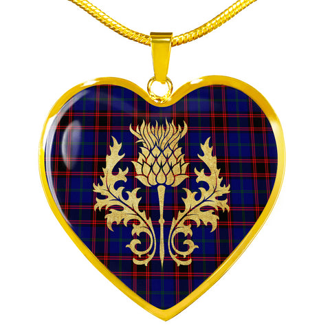 Home Modern Tartan Heart Necklace Thistle Gold Hj4