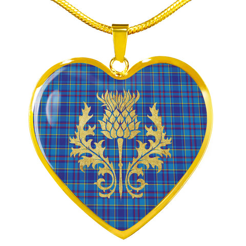 Mercer Modern Tartan Heart Necklace Thistle Gold Hj4