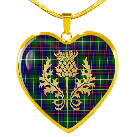 Inglis Modern Tartan Heart Necklace Thistle Gold Hj4